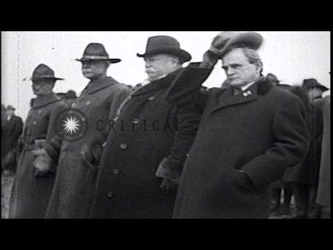 US President William H Taft reviews parading troops at Camp Jackson in Columbia, ...HD Stock Footage