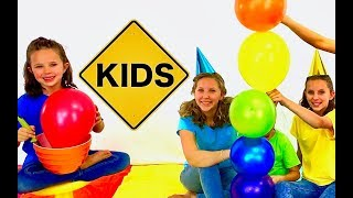 Learn English Colors! Rainbow Balloon Stack with Sign Post Kids!