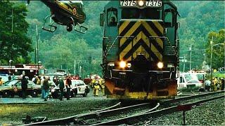 美国47节火车失控上万民众生命遭受威胁老车长用老式火车头拼死与之拔河