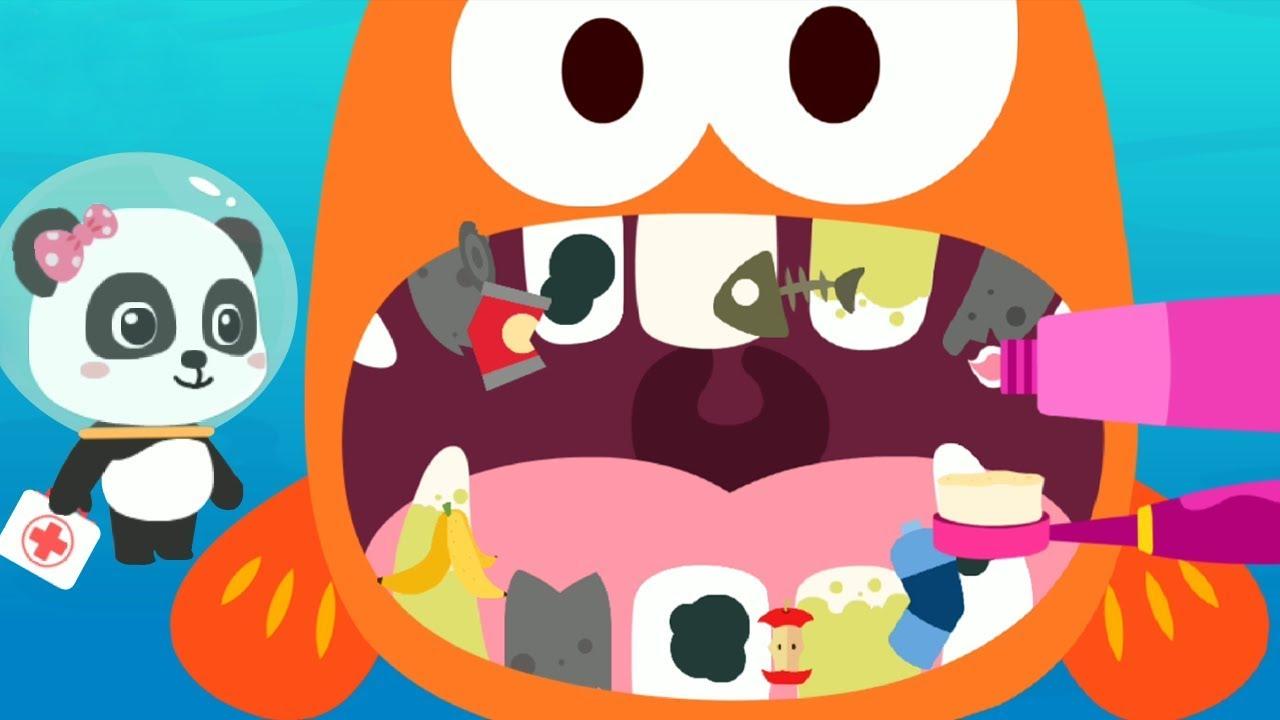 Trò chơi vui nhộn cho bé – Nha sĩ Gấu Trúc khám răng cho cá vây chân – Bé học các loài cá