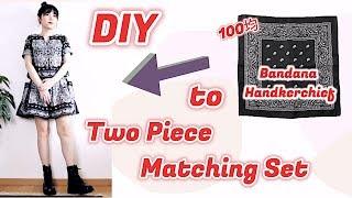 DIY DAISO Bandana Two Piece Matching Set / 100均 手作り服 + ファッション / 다이소 / Sewing Tutorialㅣmadebyaya