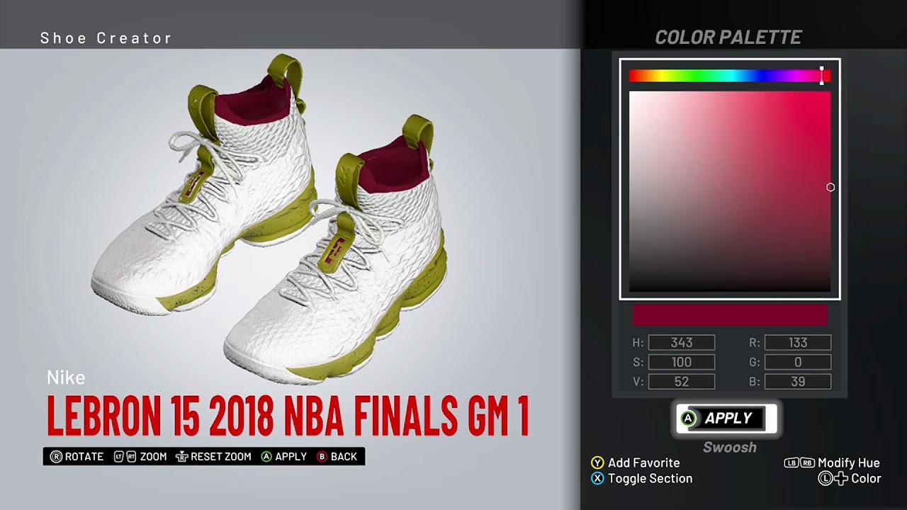 5ab169d6fc4 NBA 2K19 Shoe Creator - Nike LeBron 15 PE