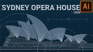 Blueprint Drawing in Illustrator | Wednesday Wonders #5: Sydney Opera House