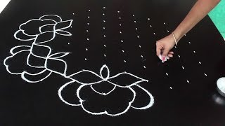 Simple rangoli designs with 11X6 dots | Beautiful rose rangoli designs | Simple muggulu