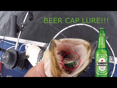 Catching Fish with A Home Made BEER CAP Lure!