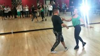 David Herrera and Anya Fuchs of DWTS teaching salsa / tango fusion class @ 2155 Carrollton 8/18/19