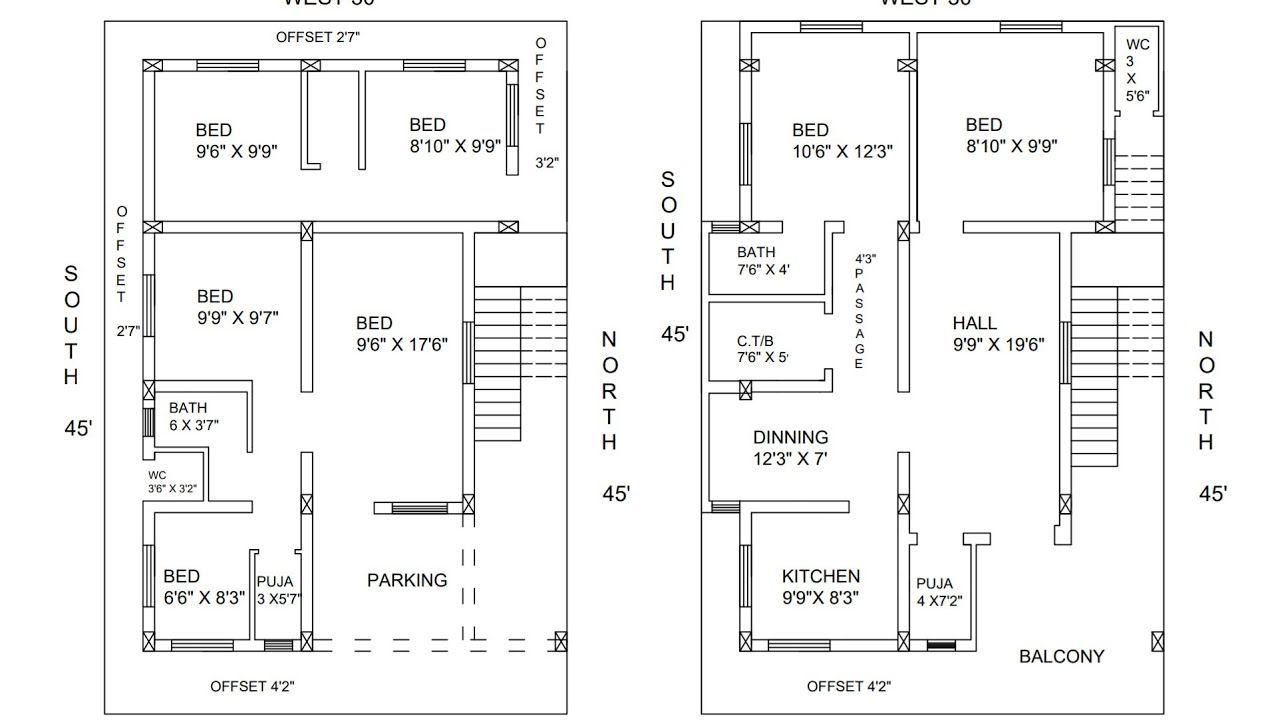 30 × 45 east face ground and first floor plan type 2 - YouTube