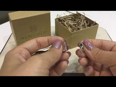 Серьги 1351 из белого золота 585 пробы с изумрудами ГТ и бриллиантами