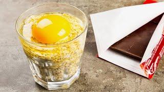 Стакан овсянки, яйцо и плитка шоколада! Простая вкусняшка к чаю на раз, два, три