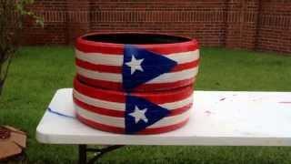 Decoracion De Llantas Con Bandera De Puerto Rico