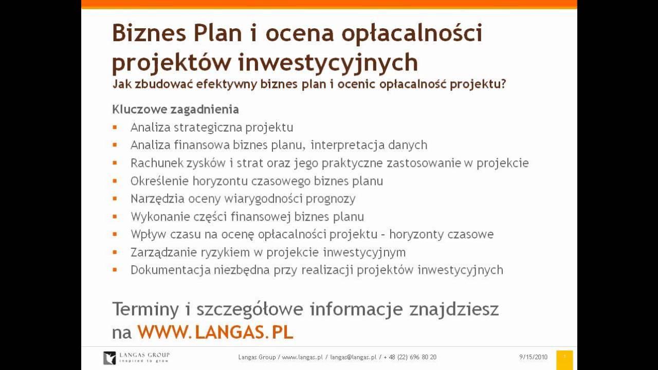 a5e3535c44688f Szkolenie - Biznes Plan i ocena opłacalności projektów inwestycyjnych -  www.langas.pl
