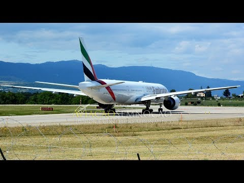 Emirates Boeing B777-300ER landing, taxi and takeoff at Geneve Airport 04/09/2017