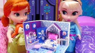 Frozen 2 Toddlers Craft DIY Miniature Dollhouse Elsa and Anna Bedroom Makeup Room