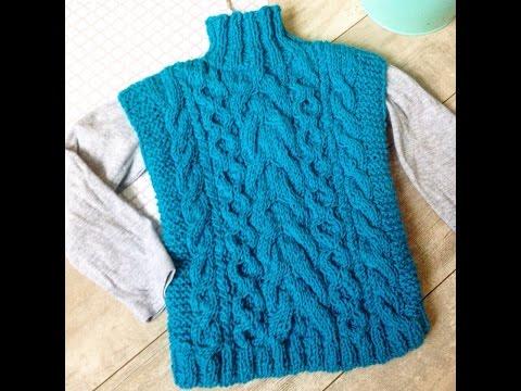 Детский свитер/безрукавка спицами (часть 3)набираем петли  горловины,вяжем резинку