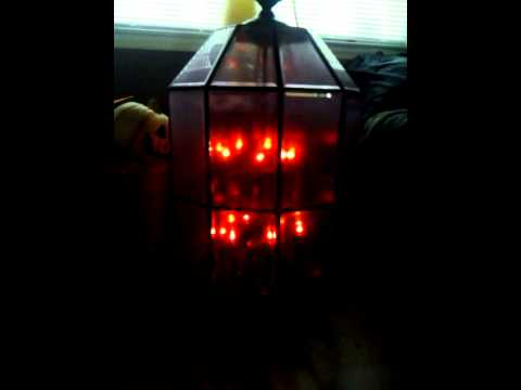 Flicker bulbs added to re-purposed chandelier - YouTube