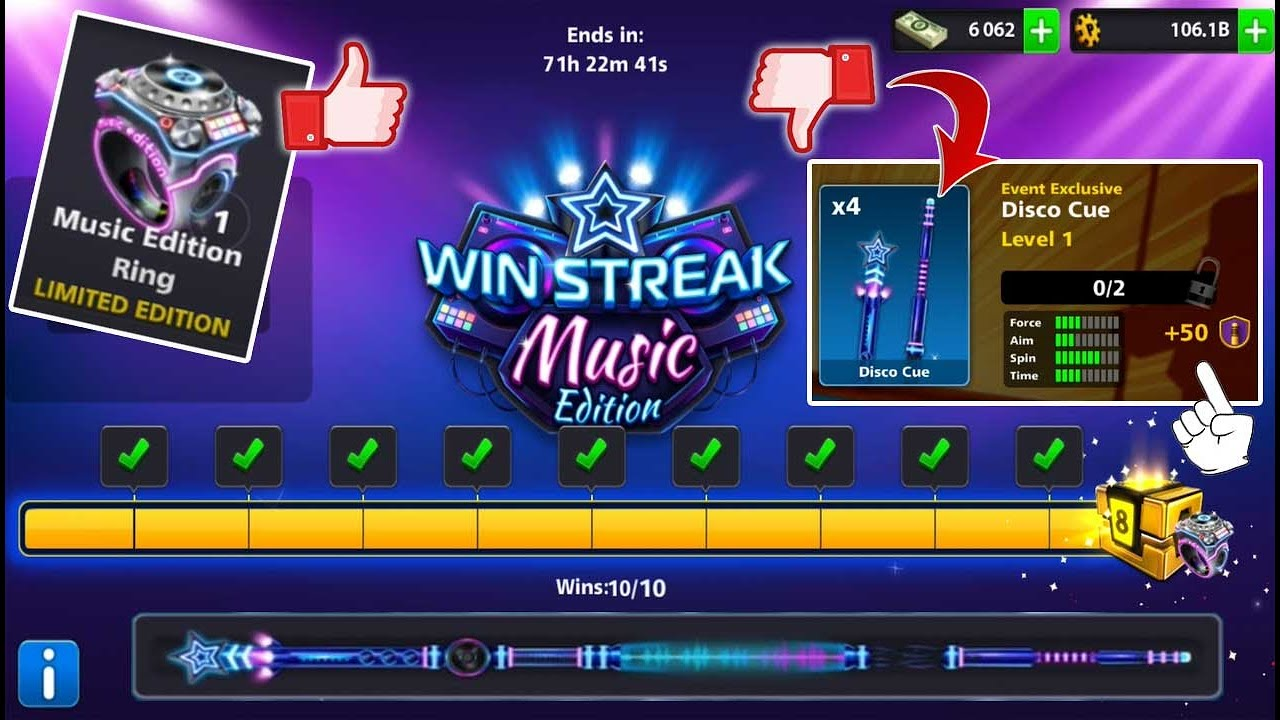8 ball pool Win Streak Music Edition ✔ Free Cue And Ring