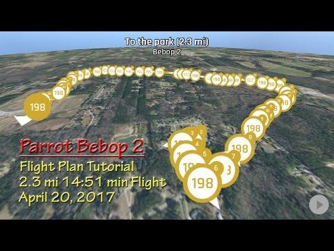 Parrot Bebop 2 Flight Plan tutorial with 2.3 mile flight