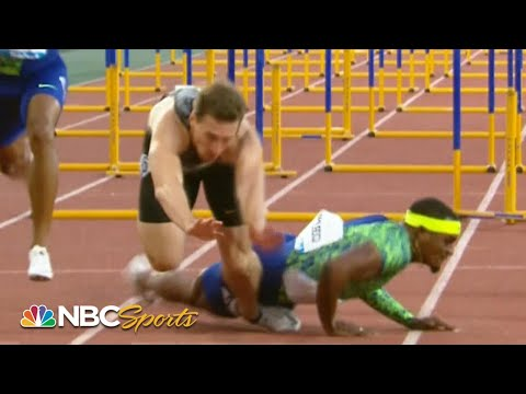 Unbelievable crash leads to photo finish in men's 110m hurdles | NBC Sports