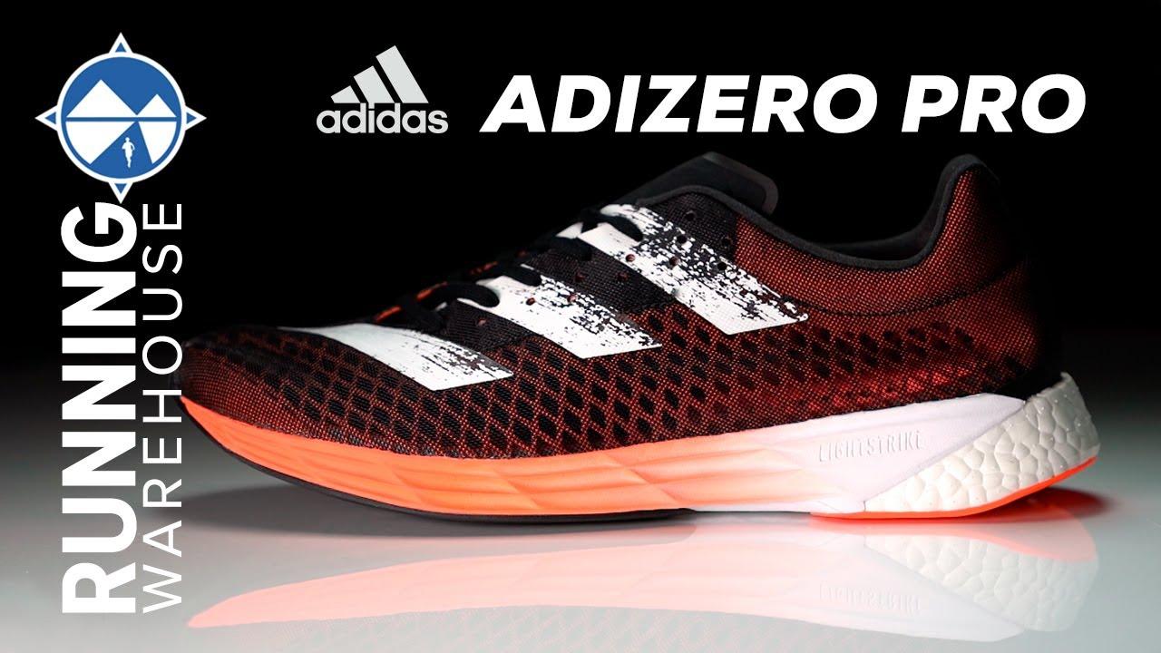 Ligadura apetito Decoración  adidas adizero Pro First Look Review | Carbon Fiber Plate + Boost +  Lightstrike - YouTube