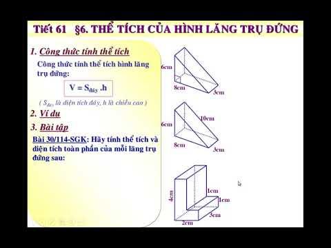 Toán học lớp 8 – Bài 6 – Thể tích của hình lăng trụ đứng,  hướng dẫn bằng powerpoint.