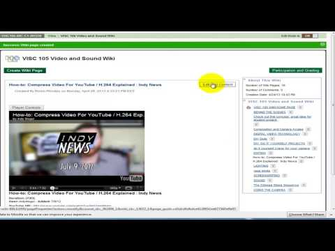 Wiki Tutorial: Create a Wiki Page and embed a YouTube Video (Mashup)  in Blackboard