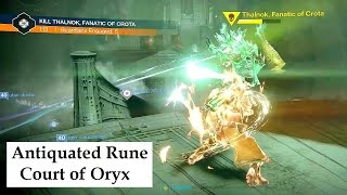 Antiquated Rune Thalnok, Fanatic of Crota in Court of Oryx event. Destiny Taken King