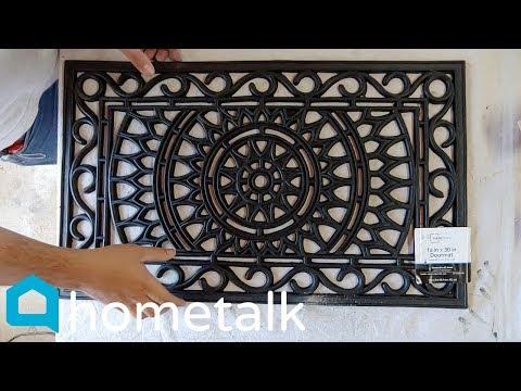 Garden Stepping Stones | Pour concrete over a $10 Walmart doormat for this garden idea! | Hometalk