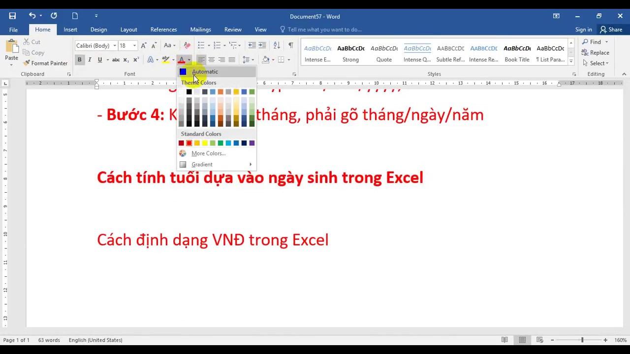 Định dạng ngày tháng và VNĐ trong Excel