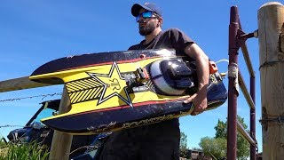 "Man and his GIANT Toy Boat - GAS Powered 48"" ""ROCKSTAR"" starts after 4 years Sitting Idle"