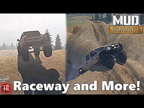 SpinTires MudRunner: NEW, WIDE Raceway Map + STEEP, Muddy Hills!