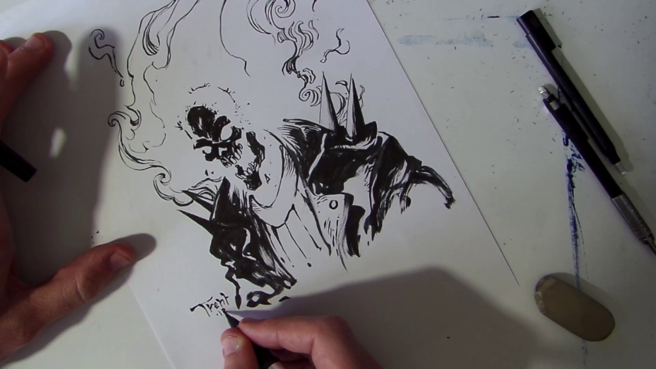 Just draw ghost rider real time paper pencil and ink