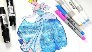 Cinderella coloring page Disney princess coloring book for kids