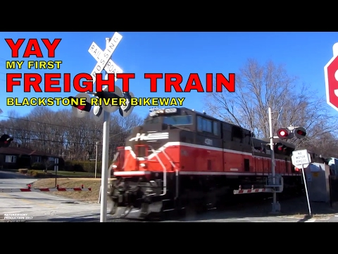 My 1st Big Freight Train along the Blackstone River Bikeway in Rhode Island ~ P&W Railroad