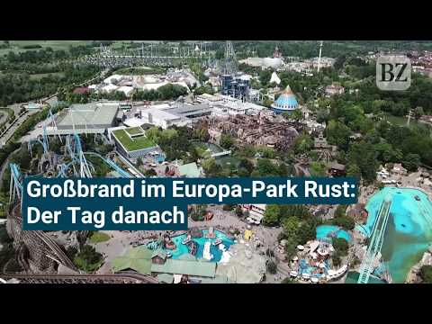 Drohnenvideo: Der Tag nach dem Großbrand im Europa-Park