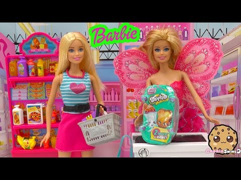Barbie Doll Grocery Store Market Playset + Shopkins Season 3 Blind Bag Toy Unboxing Cookieswirlc