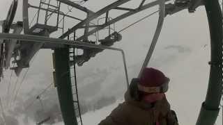 Kirkwood Gopro Snowboarding Cornice Express - Zachary Run #1 - Top To Bottom 2m40s - Rear View