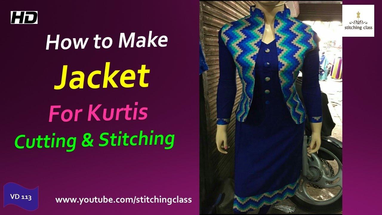 How To Make Designer Jacket For Kurtis Cutting And Mom N Bab Dress Vest Blue Denim Stitching