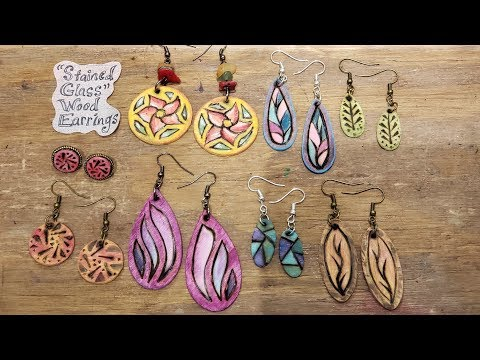 """""""Stained Glass"""" Wood Earrings - Eps 92"""