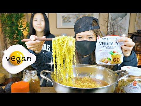 VEGAN SPICY RAMEN • Food Review Mukbang • (비건라면)