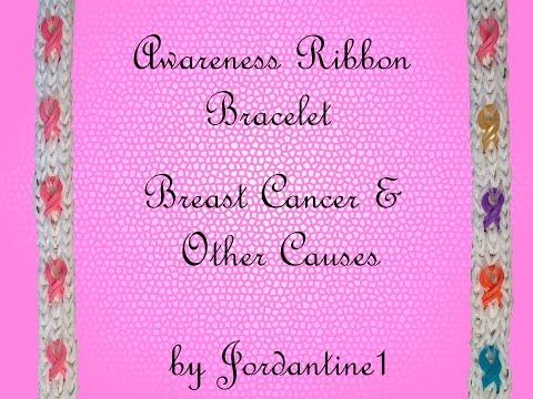 Awareness Ribbon Bracelet - Breast Cancer - Monster Tail or Rainbow Loom
