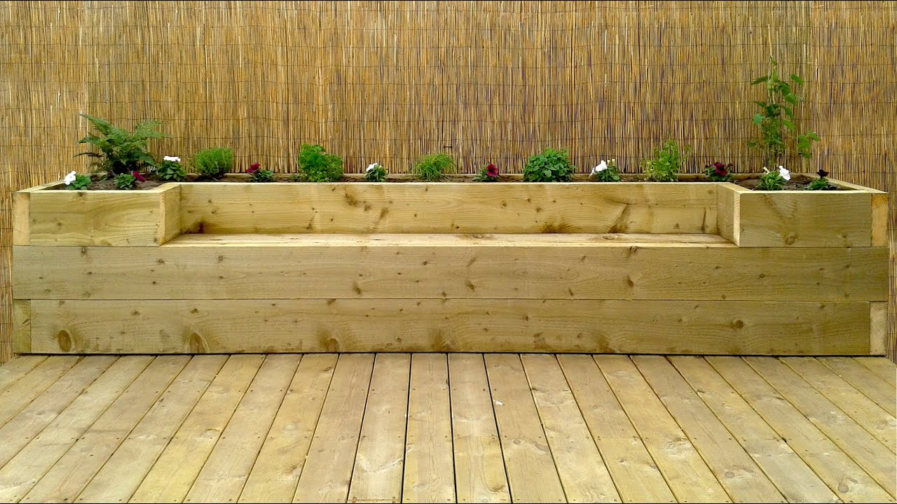 Softwood decking raised bed bench youtube for Garden decking borders