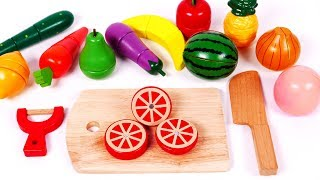 Learn Colors with Cutting Fruit and Vegetables Playset Toys for Children