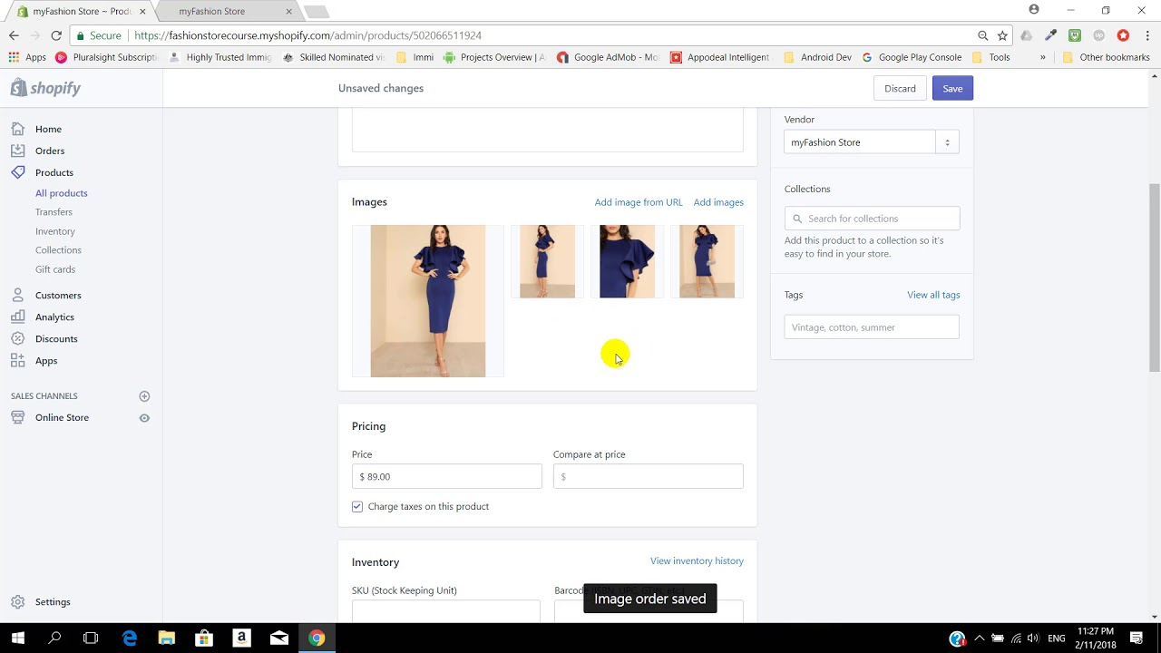 Edit an existing product on shopify