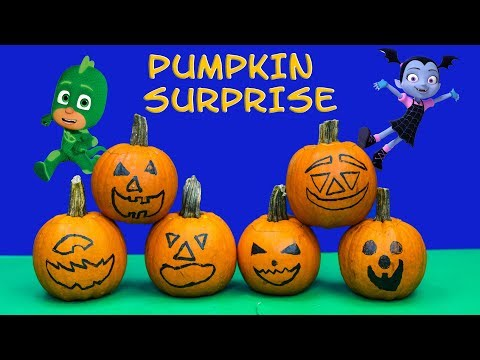VAMPIRINA Disney Pumpkin Surprise with PJ Masks + Paw Patrol + Puppy Dog Pals Toys Video