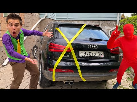 Mr. Joe taped Trunk Car with Scotch Tape VS Red Man on Audi Q3 13+
