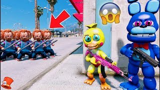 CAN FNAF WORLD HIDE FROM THE EVIL DOLL CHUCKY CLONES? (GTA 5 Mods For Kids Animatronics RedHatter)