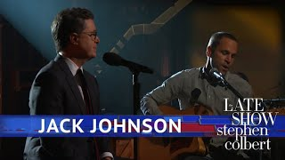 Jack Johnson and Stephen Colbert Perform
