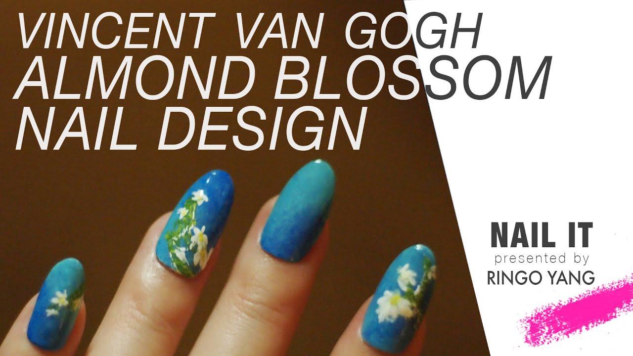 Okringo Nailit 6 Almond Blossom Vincent Van Gogh Inspired Nail Art