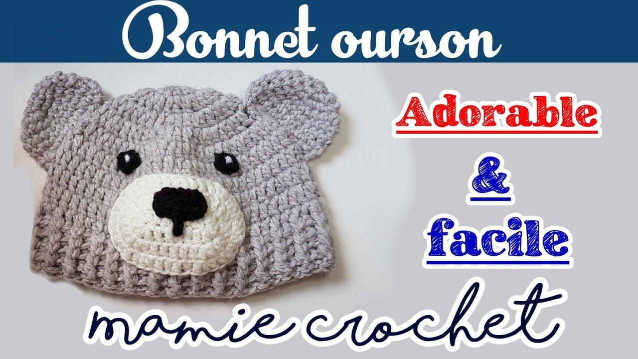 Pas à pas bonnet ourson au crochet toutes tailles - YouTube 3f3dbc90350