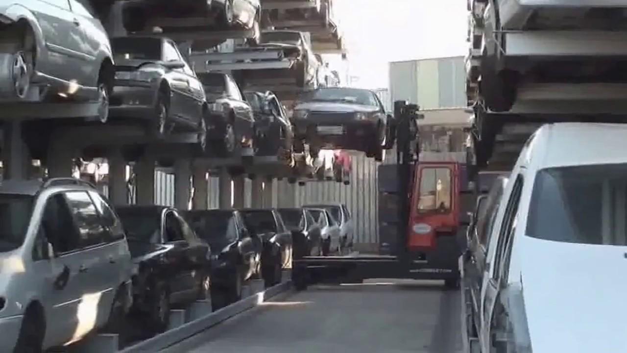 Lagertechnik für Autoverwerter - Lagerung von Altautos - YouTube